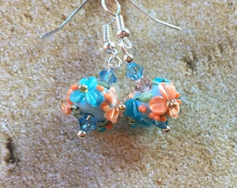 Flower Lampwork Earrings, Pale Blue and Pink Flowers, Floral Earrings, Lampwork Jewelry, Gift For Her
