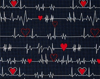 Calling All Nurses Fabric by the Yard / Heartbeat on Navy for Windham Fabrics 37302-1 / Nursing Fabric / Yardage & Fat Quarters