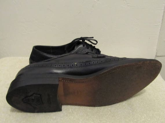 EXECUTIVE MEN By Sharp MAD 60's 10D Leather Men's Black Wingtips era Vintage Imperial xUzqwXXvT