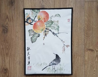Original Chinese brush painting: Apple tree with Wagtail