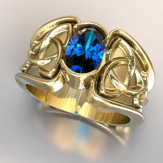 Celtic Blue Sapphire Ring With Trinity Knot Band Ring Design in Gold, 10K 14K 18K Palladium or Platinum Made in Your Size CR-17d