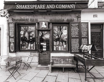 Paris Travel Photography, Shakespeare and Company Bookstore, Black and White Photo, Fine Art Photograph, Large Wall Art, French Wall Decor