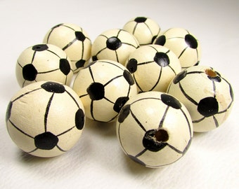 Soccer Ball Beads: Large Painted Wood Beads - Set of 10 Vintage Pieces