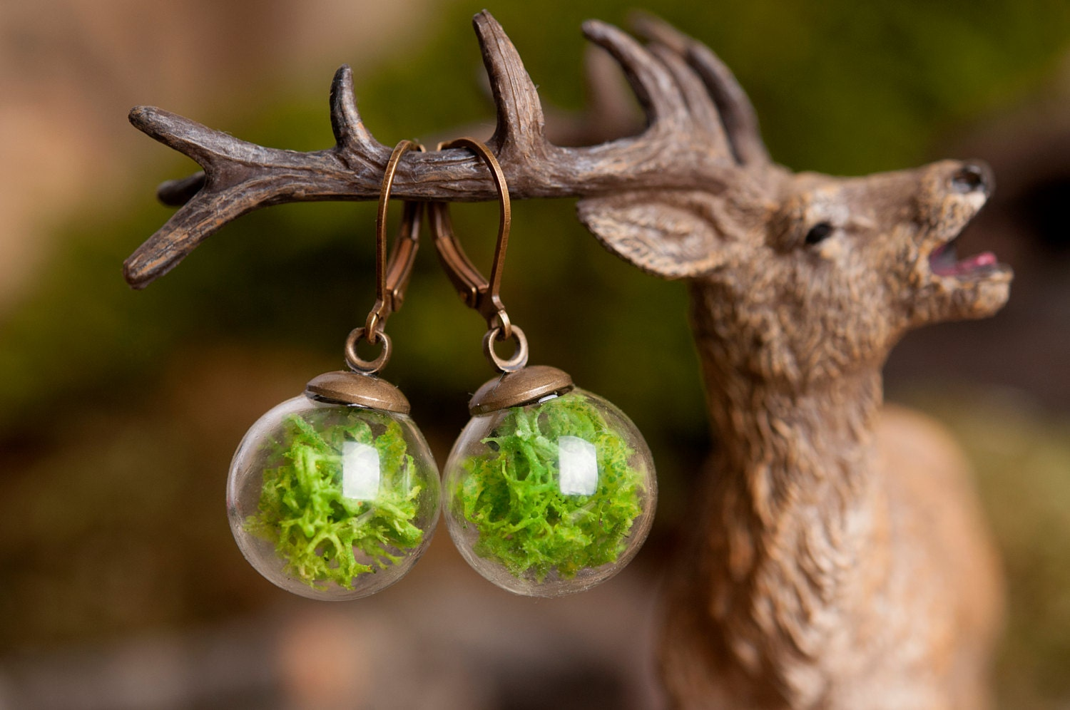Moss Earrings Gift For Women Mom Birthday Gift Terrarium # Terrarium Dangle