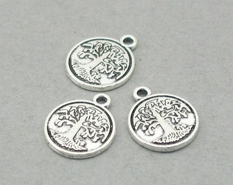 10 Tree Charms, Tree of Life Disc pendant beads, Antique Silver 15mm CM0807S
