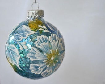 """3"""" Hand painted stained glass textural ornament"""