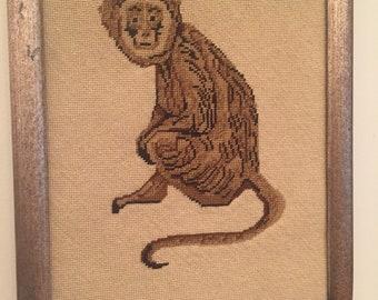 Vintage Needlepoint of Monkey Framed