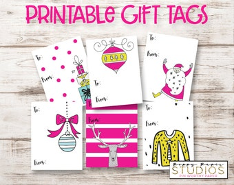 Printable Christmas Tags, DIY tags, Whimsical Christmas Gift Tags, Pink Gift Tags, Holiday Gift Tags, INSTANT DOWNLOAD, Girly Gift Tags