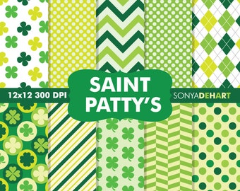 80% OFF SALE Saint Patrick Papers, Saint Patrick's Day, Digital Papers, Clover Digital Paper, Irish Digital Paper, Shamrock Patterns
