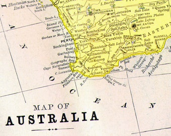 Australia Map Antique Copper Engraved Cartography 1892 Victorian Geography Art To Frame