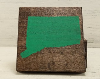 Pick State, Pick Color, Connecticut Wood Coasters, Set of 4, Wedding Gift, Housewarming Gift