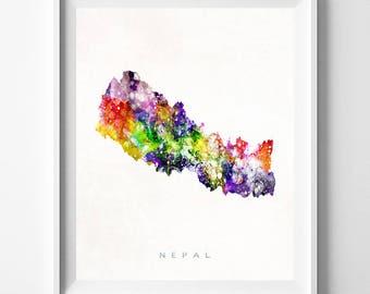 Nepal Map Print, Kathmandu Print, Nepal Poster, Kathmandu Map, State Art, Watercolor Art, Decor, Travel Poster, Map Art, Fathers Day Gift