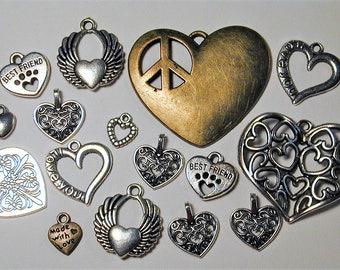 16pc Heart Charm Destash Collection  Silvertone & Bronze  C175