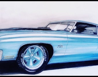 Chevelle hotrod muscle car. Muscle car garage hotrod Chevelle decor. Gift for him Chevelle muscle car hotrod Man cave wall print hotrod art.
