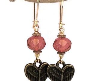Dusty Rose Heart Wing Earrings, Sterling Silver, Gold Filled, Heart Earrings, Wing Earrings, Victorian Earrings, Gypsy Jewelry, Choose Hook