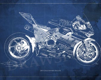2017 CHAZ DAVIES' DUCATI Blueprint,Art Print larger sizes, Motorcycle Art print,Original Drawing for men cave, Christmas gift,bike art
