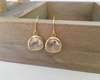Gold Earrings, Clear Glass Drops, Bridesmaid Earrings, Bridesmaid Gifts, Gifts for Her, Best Selling Item, Best Friend Gift, Co-Worker Gift