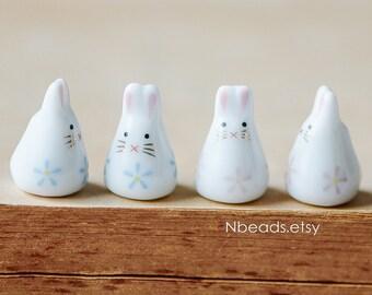 10pcs Kawaii Porcelain Bunny Beads, Floral Ceramic Rabbit beads, Pink Blue -80132