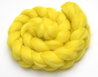 BFL Wool Combed Top Yellow - Heritage Breed - 100 grams