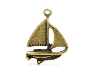 2 charms boats sailing 23 x 17 mm