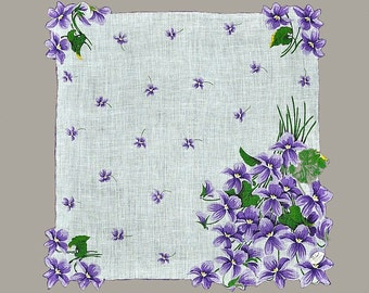 VINTAGE HANKIE Purple Violet Nosegays on White Field Stunning NOS w/ Burmel Tag Purple Hem is Both Hand Rolled and Corded Bright & Clean