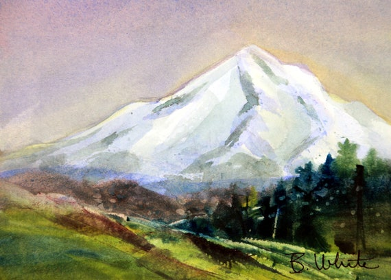 Mt Hood original #4 - 8x10 matted original painting - Bonnie White - Mt Hood - Columbia Gorge - pacific northwest - watercolor