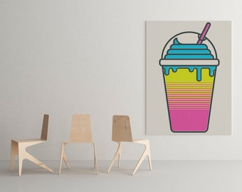 Brain Freeze Art Print Icee Squishee Blue Raspberry Neon Slushy Ice Cream Milkshake Soda Pink Blue Yellow 80's 90's