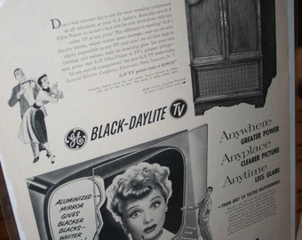 Vintage 1952 General Electric with Lucille Ball Advertisement