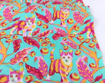 Disco Kitty Strawberry Fields Color ~ Tabby Road Collection ~ Tula Pink Free Spirit Cotton