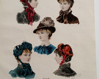1883 French Magazine Hand Colored Fashion Print, France, Bonnets, Millinery, Victorian, Hats, Historical, Lithograph, Style, Women, Art