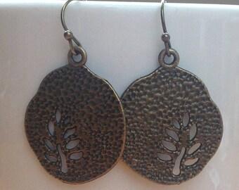 Antique brass tree coin earrings