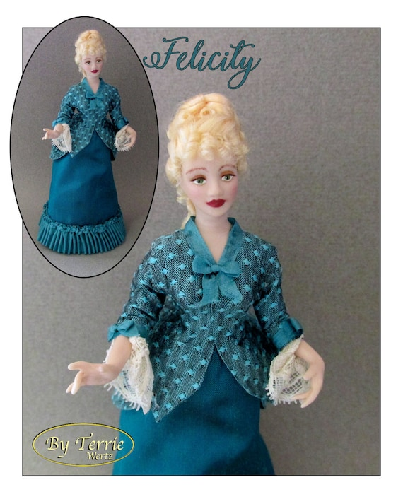 Dollhouse Doll FELICITY Doll Pattern & Tutorial Instructions PDF Miniature 1:12 Scale Instant Download DIY 1880 Victorian (Intermediate)