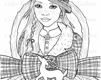 Christmas Portraits - 5 Printable Coloring Pages - Adult Coloring Pages - Digital Stamps - Digi Stamps