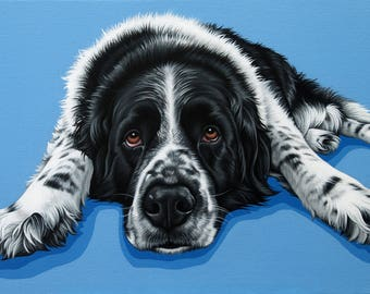 Custom Pet Portrait, 14x20 Dog Painting, Pop Art Dog Portrait, Saint Bernard Mixed Breed Portrait, Hand Painted Portrait of Your Pet