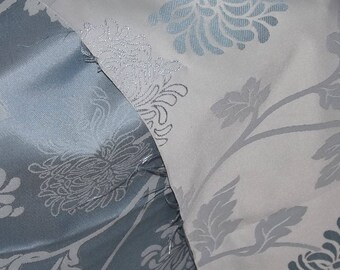Blue Floral Fabric, Fabric Remnant, Soft Furnishing fabrics