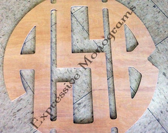 26 Inch Wooden Monogram Circle connected -CONNECTED & UNPAINTED
