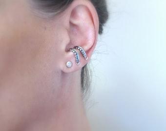 Sterling silver SINGLE suspender earring, Ear suspender for her, Oxidized silver suspender earring