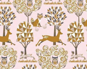 Enchanted Forest Pink Fabric by Josephine Kimberling The Natural Wonder Collection - Rabbit, Owl, Fox, Deer Blend Fabrics 1 One Yard Fabric