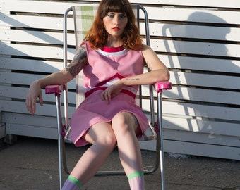 Retro mad A line Pink mini scooter dress 50s 60s custom made