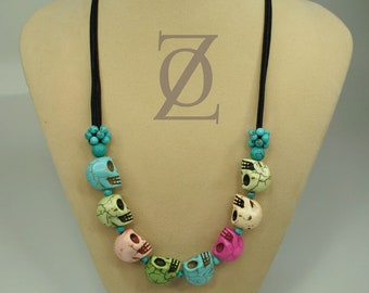 Colorful Skull Necklace Day of the Dead Halloween Jewelry  turquoise beads Necklace