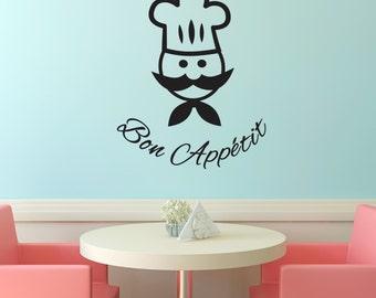 Bon Appetit Kitchen Wall Decal - Chef Wall Sticker