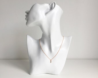 Rose Gold Teardrop Necklace on Fine Chain