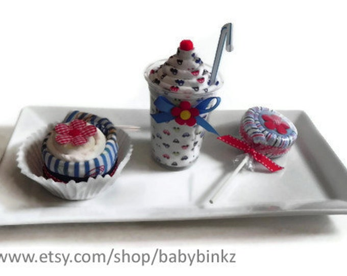Baby Shower Gift Box Combo: Receiving Blanket Milkshake, Diaper & Bodysuit Cupcake, and Washcloth Lollipop