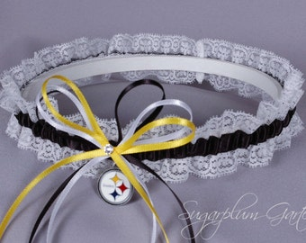 Pittsburgh Steelers Lace Wedding Garter - Ready to Ship
