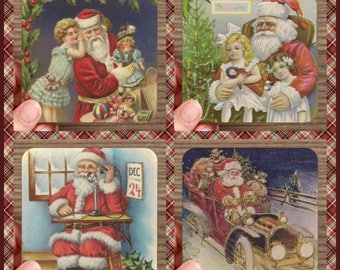 Set of 4 High Gloss SANTA Christmas Coasters   – Cork Back in Storage Case – Vintage Inspired Holiday Decor
