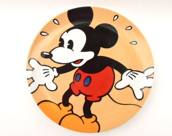 Vintage Mickey Mouse In A Panic Plate Disney Classic Brenda White Clay Artist Collectible Walt Disney Collectable Plaque Charger Ceramic