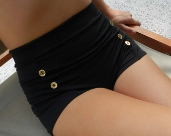 Sailor bottoms high waisted style swimsuit bottoms with gold buttons shown in BLACK