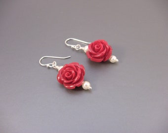 Red Lucite Rose Earrings