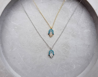 hamsa necklace, pave hamsa, gold necklace, turquoise necklace, CZ hamsa necklace, vermeil gold, sterling silver 925, pave hand charm