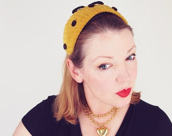 50s Mustard Gold Velvet Hat with Brown Dots and Bow